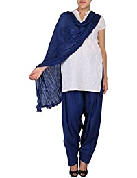 Womens Cottage Women's Pure Solid Cotton Semi Patiala Salwar & Cotton Dupatta Stole With Lace Set