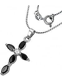 Fashion Krappenfassung Kristall Oval Blumen-Kreuz Charm Halskette – Schwarz