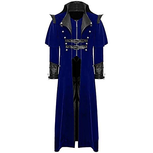 Amphia Mantel- Steampunk Gothic Herren Punk Langarm Jacke Slim Fitting Retro Mittellang Mantel Party Mantel Cosplay Uniform für Männer