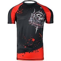 Camiseta de neopreno para Artes Marciales Mixtas (MMA) con capa base de compresión, manga corta para hombre, color negro