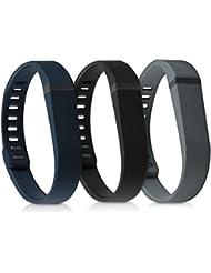 kwmobile 3en1: 3x sport bracelet remplaçant pour Fitbit Flex en couleur souhaitée Dimensions intérieures: env. 15 - 20 cm - bracelet en silicone avec fermoir sans tracker