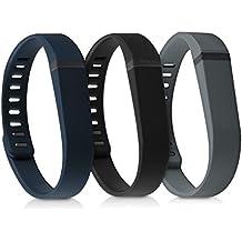 kwmobile 3in1:3x Sport braccialetto sostitutivo per Fitbit Flex in colore nero blu scuro antracite Dimensioni interiori: approssimative 15 - 20 cm - Braccialetto in silicone con chiusura senza fibbia