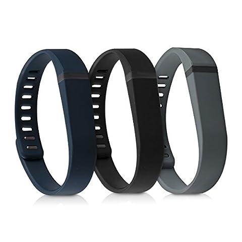 kwmobile 3en1: 3x sport bracelet remplaçant pour Fitbit Flex en