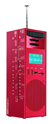 BRIONVEGA Gratticielo rr327 Design Radio (FM/AM, USB, Kartenleser, MP3 kompatibel, 1x Audio-In, Stereo-Kopfhörer-Buschse) rot