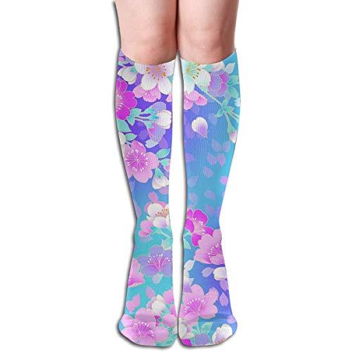 (Qefgjbw Compression Socks Flower Blue High Boots Stockings Long Hose For Yoga Walking For Women Man)