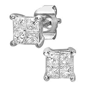 Naava Women's 9 ct White Gold 0.33 ct Diamond Stud Earrings