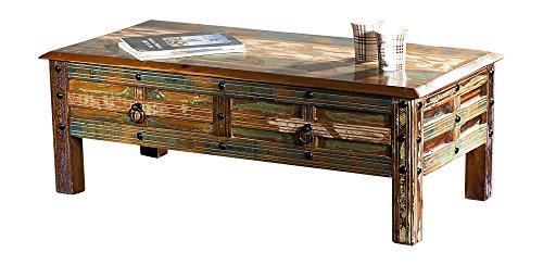 The Wood Times Couchtisch Tisch XXL Massiv Vintage Look Delhi Holz FSC Recycled, LxBxH 115x55x40 cm