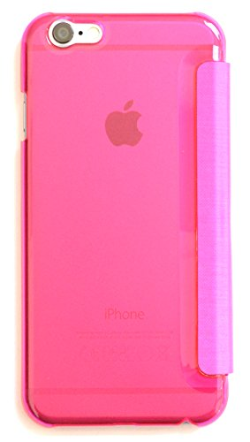 Schutzhülle Hülle Flip Cover Case Tasche für iPhone 6 mit Sichtfenster und transparenter Rückseite matt / in Weiß weiss von OKCS Pink