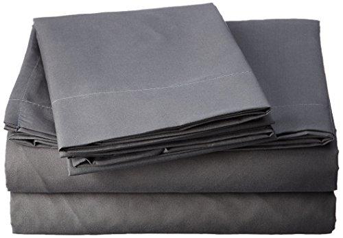 Home Soft Things Serenta 1600Serie 90GSM massiv Supreme knitterfreies Betten Bettwäsche und Kissen Bezug Set, Queen, grau - Queen Supreme Spannbetttuch