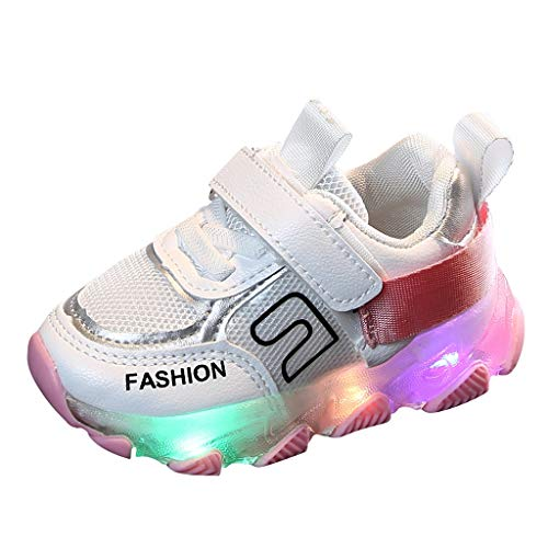 QinMM Scarpe per Bambini Ragazze con Luci Stella Scarpe da Corsa ,Anti Scivolo Morbido Ragazzi Ragazze Sneaker