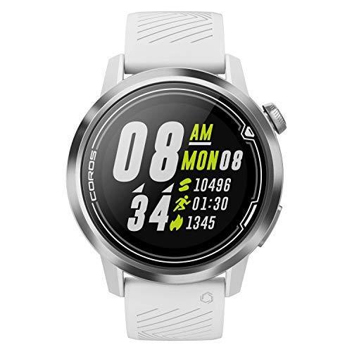 COROS Apex Premium Multisport Reloj Entrenador Ultra Durable duración de la batería - Cerámica/Titanio | Monitor de Ritmo cardíaco | Barómetro, Altímetro, Brújula | Conexiones Ant BLE, Blanco, 46 mm