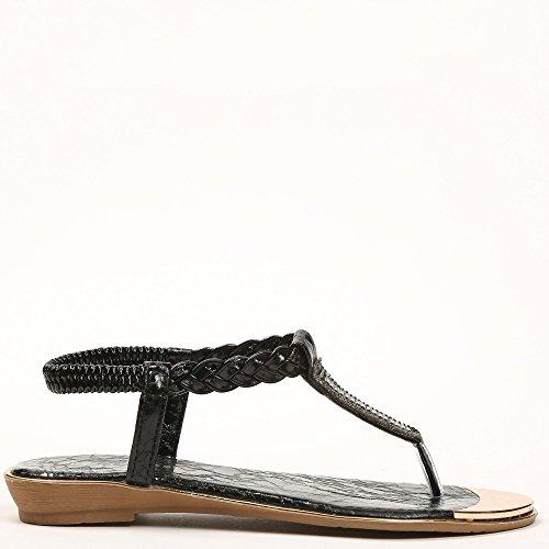 Ideal-Shoes Sandali piatti con flangia intrecciata Gloriana e strass Nero (nero)