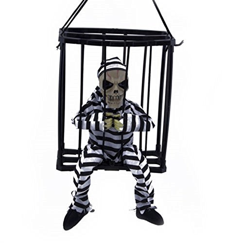 Xizi Hanging Skeleton Caged Gefängnis Gefangenen Halloween Dekoration leuchten Schädel (Leuchten Schädel Halloween)