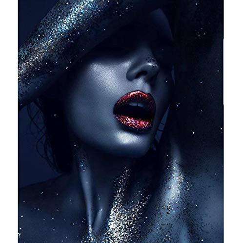alerei by Zahlen ölgemälde auf leinwand wanddekor DIY Frau Gesicht abstrakte Figuren Decor 40x50 cm ()