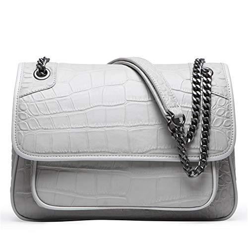 XMYL Damen Kleine Umhängetasche Crossbody Bag mit Kette Schulterriemen Echtes Leder Schultertasche Messenger Handtasche mit Reißverschluss Abendtasche City Clutch Party,27 * 12 * 18.5cm,Gray
