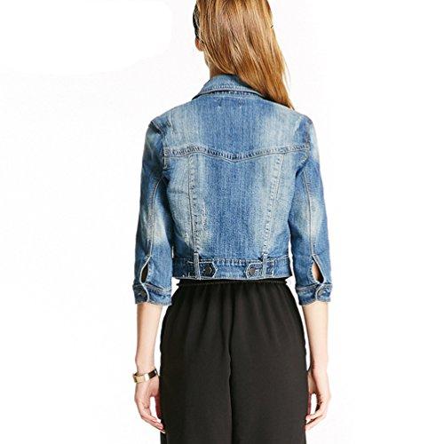 ZhiYuanAN Donna Giacca Di Jeans A Maniche Lunghe Giubbotto Del Cowboy Moda Casuale Breve Denim Camicetta Outwear Blu