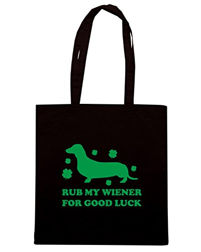 T-Shirtshock - Borsa Shopping TIR0173 rub my wiener for good luck green tshirt Nero