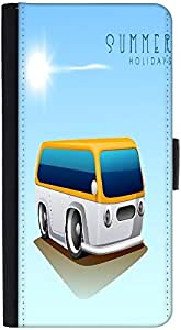 Snoogg Summer Holidays Background With Caravan Graphic Snap On Hard Back Leat...