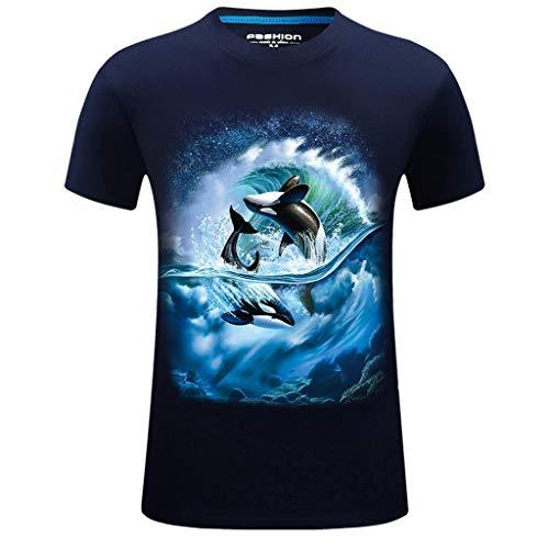 Fascino-M◕‿✦ Männer 3D Druck Lustige Grafik T-Shirt Sommer Casual Kurzarm Shirt Crew Tees Top Übergrößen S-6XL