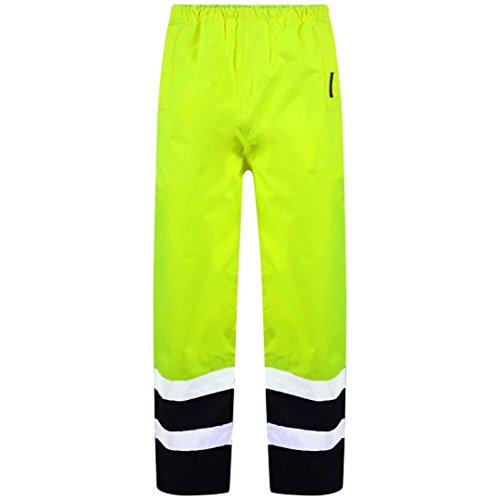 Price comparison product image MyShoeStore Hi Vis Viz 2 Band Pu Over Trousers High Visibility Waterproof Safety Work Wear Reflective Tape Stripe Elasticated Waistband Bottoms Workwear Pants Plus Big Size S-4xl