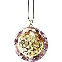 Reiki-Kristall-Anhänger, energetischer, unbearbeiteter Amethyst, Blume des Lebens, mit Silberkette (als Geschenk... preisvergleich bei billige-tabletten.eu