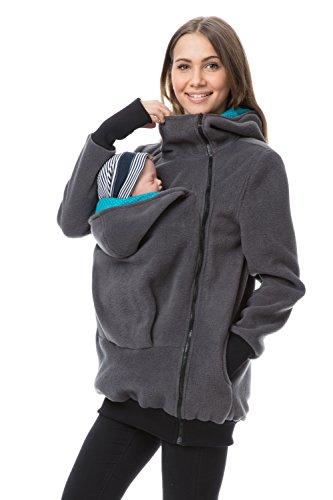 GoFuture Damen Tragejacke für Mama und Baby Känguru Klassiker Fleece mit Hochkragen Viva GF2301XW in Graphit mit Punkten auf Türkis