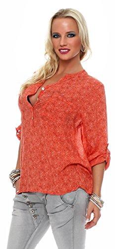 ZARMEXX feine Viskosebluse Hemdbluse Fischerhemd regular fit leichte 3/4-Arm Sommerbluse Tunika zart geblümt Lachs