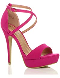 fc3f03803 Womens Ladies Platform high Heel peep Toe Cross Over Strappy Sandals Shoes  Size