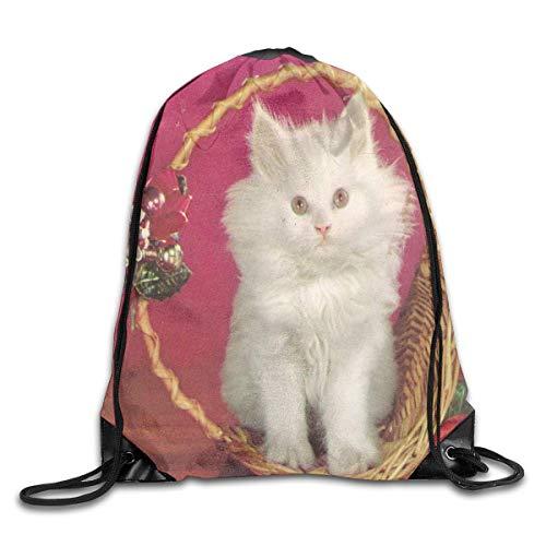 YuYfashions Drawstring Bag Merry Christmas Ornament White Kitten Rucksack for Travel Rucksack mit Kordelzug (Ornamente White Christmas)