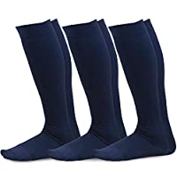 TeeHee Microfiber Compression Knee High Socks with Rib 3-Pack (Large (10-13), Navy)