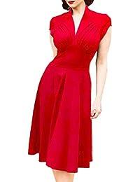 YuanDian Donna Anni 50 Vintage Audrey Hepburn Stile Senza Maniche  Elasticità Slim Fit Aderente Midi Vestiti a2fa89a0c57