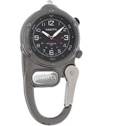 Dakota Mini Clip Watch - Analog Display Carabiner Watch with Ultra Bright LED microlight - Luminescent Hands and Hour Markers - Japan Quartz Movement - Water-resistant 100 feet - Gunmetal Grey