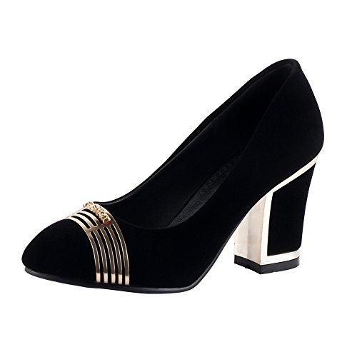 Escarpins Femme a talon haut velour pointu metallique sexy Noir