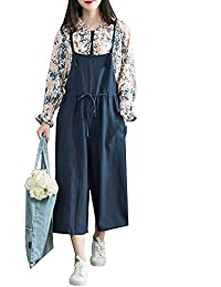 1877185370b Sobrisah Women s Sleeveless Loose Dungarees Retro Spaghetti Strap  Adjustable Shoudler Strap Jumpsuit Playsuit Knee Length