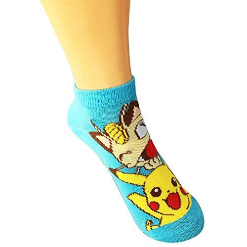 calcetines-de-Pokemon-Pikachu-y-Meowth-azul-claro-22p-PMSOC460J-24cm