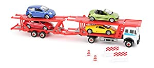 Small Foot 10790Auto Transporter de Acero Resistente en Dos Pisos, Incluye Cuatro los vehículos, Dos Conos y Dos Tomar., también como decoración Adecuado, Escala 1: 60