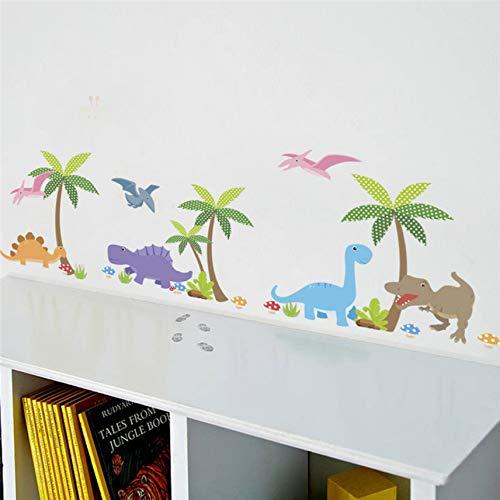 (Cczxfcc Bunte Dinosaurier Palme Wandaufkleber Für Kinderzimmer Kindergarten Kinder Aufkleber Wandbild Decor Diy Dekoration)