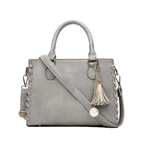 Großes Paket Scheuern Strickte Schulterbeutel Diagonale Pakethandtasche Einfaches Weibliches Paket Grey