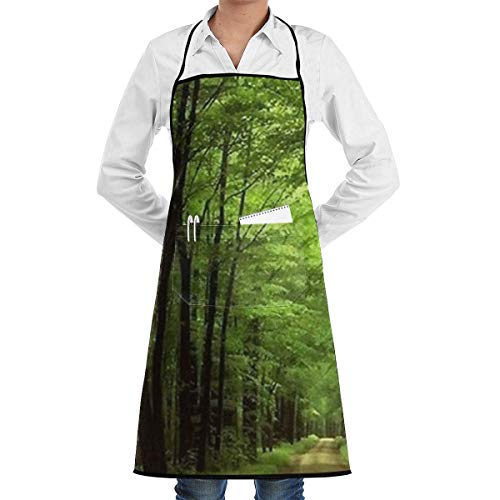 Deep in The Forest Thick Green Vegetation Tree Nature Mouse Pad Mat Grill Aprons Kitchen Chef Bib - Professional for BBQ Baking Cooking for Men Women Pockets Cute Aprons -