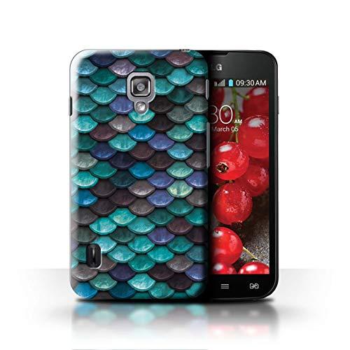 Stuff4® Hülle/Case für LG Optimus L7 II Dual/Wasserblau Muster/Aquarell Meerjungfrau Skalen Kollektion (Dual Lg Optimus L7 Ii Case)
