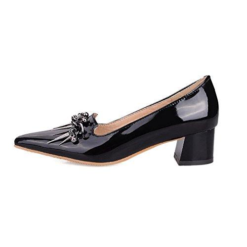 AllhqFashion Femme Verni Tire Fermeture D'Orteil Pointu à Talon Correct Couleur Unie Chaussures Légeres Noir