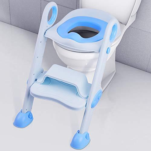 NEARPOW Réducteur de WC Pliable Siège de Toilette Réglable avec Antidérapant Échelle Marche, Souple Cushion et Poignée de Sécurité pour Enfants 1 à 7 ans (Bleu)