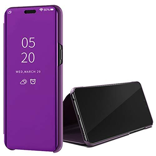 ColiColi Spiegel Hülle für iPhone XS Max, Handyhüllen Flip Clear View mit Standfunktion und Magnetisch Durchsichtig 360 Grad Schutzhülle passt für iPhone XS Max Smartphone, Lila