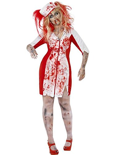 Infirmiere Kostüm Zombie - Zombie Nurse Costume XL Zombie Cemetery on Blood Red Evening
