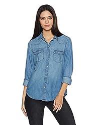 GAP Womens Button Down Shirt (142903800018_32275982700_Medium Indigo_S)
