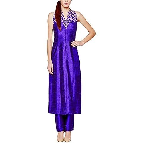 Inchiostro colorato Blue Suit by Anita Dongre/Indian Designer Salwars in seta grezza