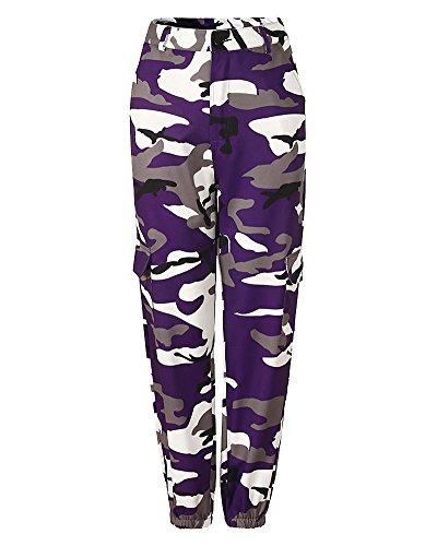Donna Sciolto Camouflage Stampa Sportivi Tempo Libero Jeans Cargo Pantaloni Viola M