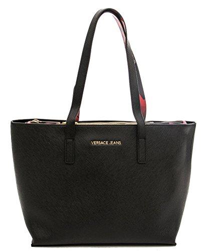 Versace Jeans Borsa Donna s Dis.2 Saffiano Nappa Stampata Nero
