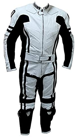 2 pc Perrini ghost Motorcycle Racing Cuir Costume avec Métal Taille Zipper