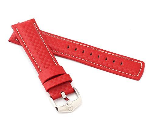 HIRSCH Herren Uhrenarmband Karbon Style Modell Carbon Größe Uhr 22 mm/Schließe 20 mm, Farbe Rot